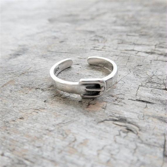 ring-02151 送料無料!SV925 ベルトバックル シルバーリング 幅3mm 8号から上にサイズ調整可能