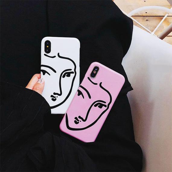 iphone-02448 送料無料! タイプ2 フェイスモチーフ モダンアート 人物 iPhoneケース