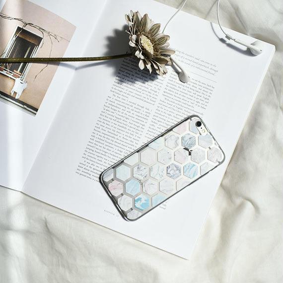 iphone-02444 送料無料! ヘクサゴナル パターン マーブル模様 カラフル クリアiPhoneケース