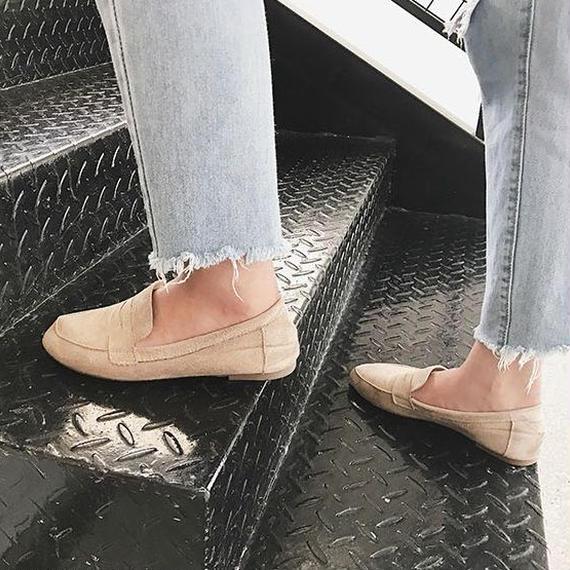 shoes-02026  フェイクソフトスエード ローファー ベージュ