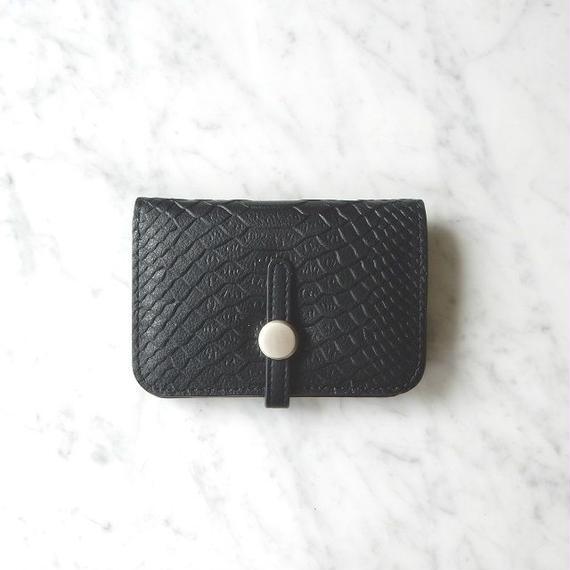 wallet-02006 ブラックパイソン ミニ財布 小銭入れ付き 二つ折り ミニウォレット
