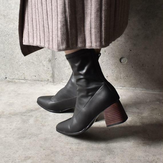 shoes-02039  チャンキーヒール フェイクストレッチレザー ブーツ
