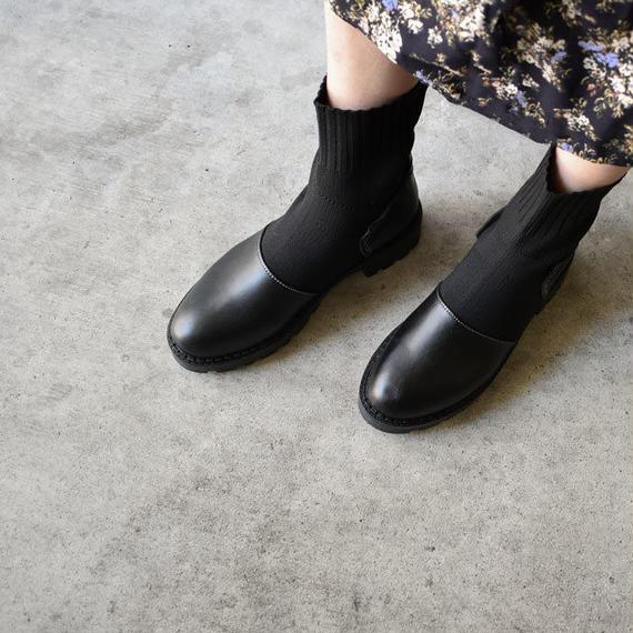 shoes-02030  ローヒール ソックスブーツ ブラック
