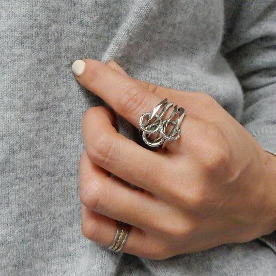 ring2-02005 送料無料! 4連ペンタゴン連結リング オリジナルリング 12号 日本製 ハンドメイド ☆ WA04