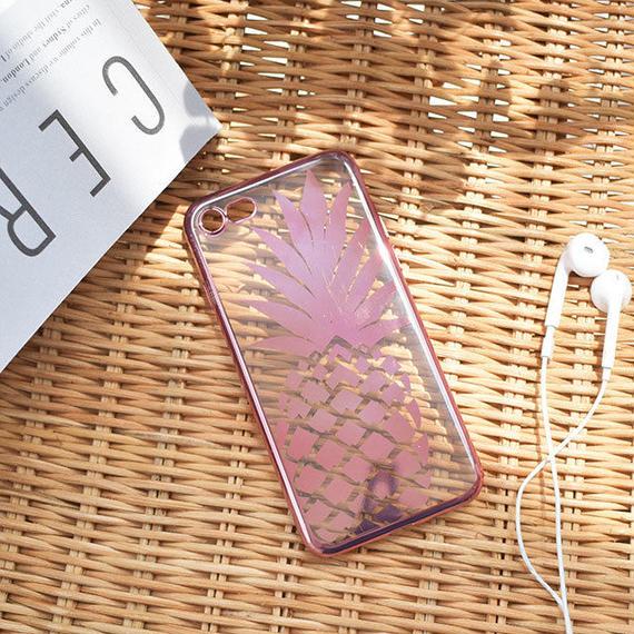 iphone-02441 送料無料! ピンク パイナップル クリア iPhoneケース