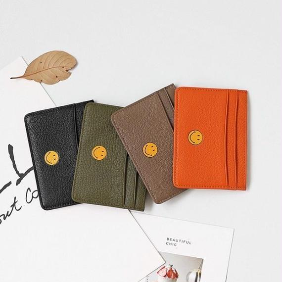 wallet-02042 送料無料! 本革レザー スマイル ニコちゃん 定期入れ パスケース カードケース