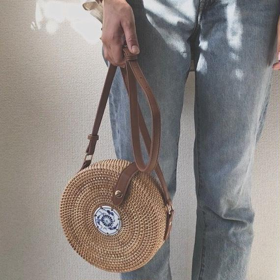 bag2-02338 ATA BAG 陶器プレート付き サークルかごバッグ ショルダータイプ 内布付き