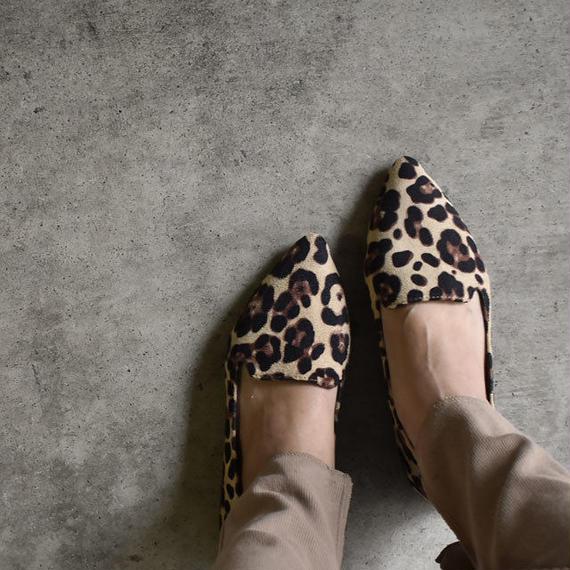 shoes-02036  ヒョウ柄 レオパード柄 オペラシューズ フラットパンプス