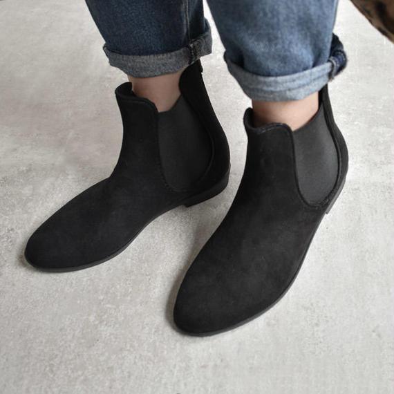 rainshoes-02005 防水フェイクスエード サイドゴア レインブーツ レインシューズ ブラック
