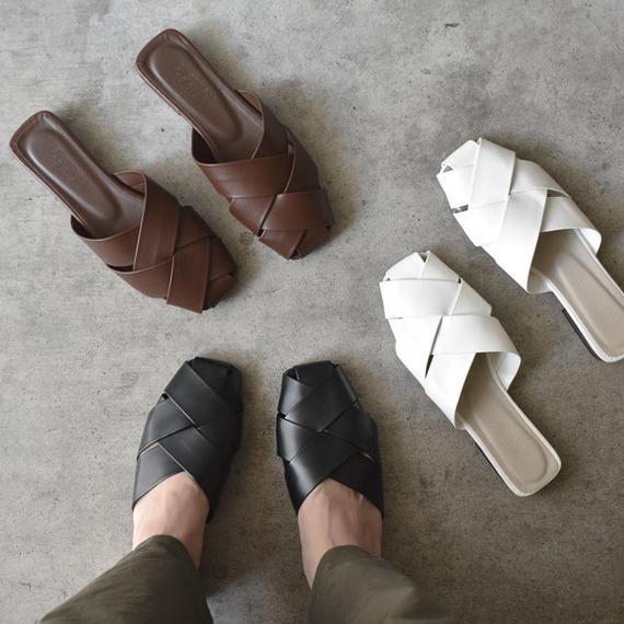 shoes-02014  フェイクレザー クロス編みサンダル