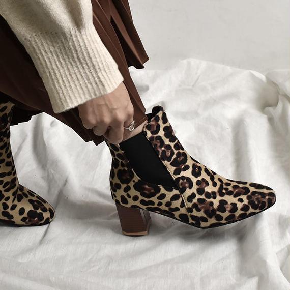 shoes-02044  レオパード柄 ヒョウ柄 チャンキーヒール サイドゴアブーツ