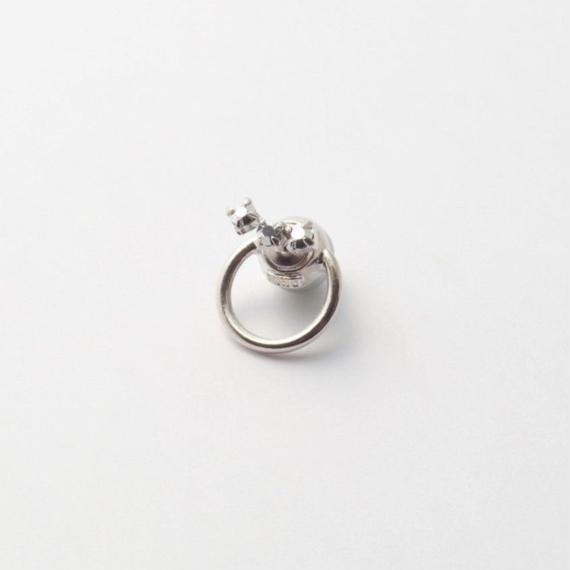 hoop catch pierce (3 Swarovski elements) /16mm hoop/silver)