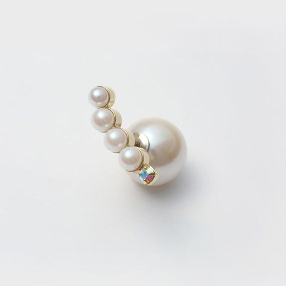 bijoux pierce (4 pearls×swarovski / white)
