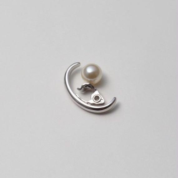 Silver line earring (25mm/8mm creamrose pearl / silver )