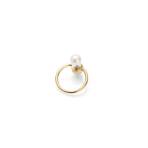 hoop catch pierce (pearl / 24mm hoop / gold)