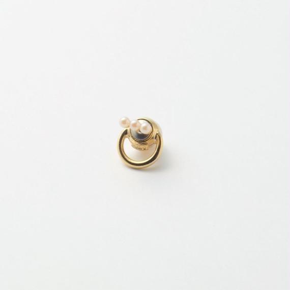 hoop catch pierce(3㎜×3pearl/12mm hoop/gold)