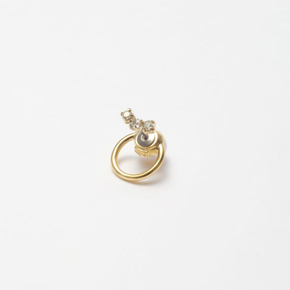 hoop catch pierce (3 Swarovski elements) /16mm hoop/gold)