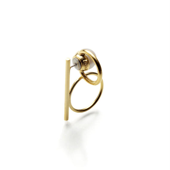 hoop catch pierce (vertical type/bar+circle / 16mm hoop / gold)