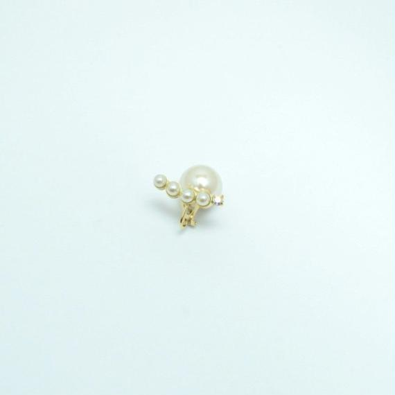 bijoux  earrings(4pearls×swarovski/white)