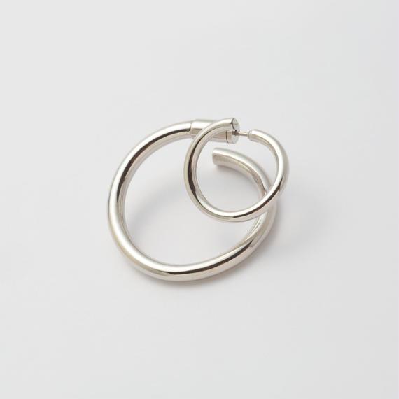 Silver line pierce(19㎜ line×30㎜ line/swarovski elements/Silver)