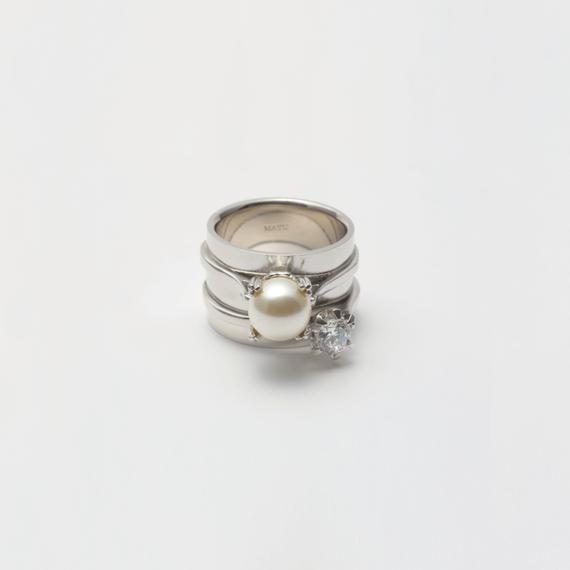 ring motif ring (pearl / cubiczirconia/silver)