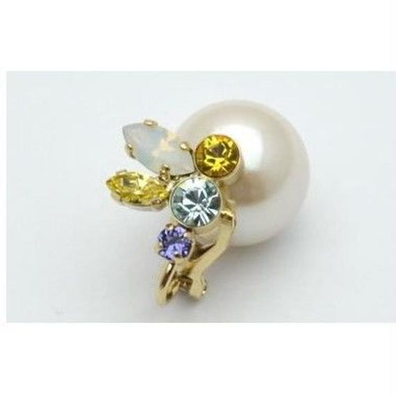 bijoux earing(pearl×swarovski/yellow/small)