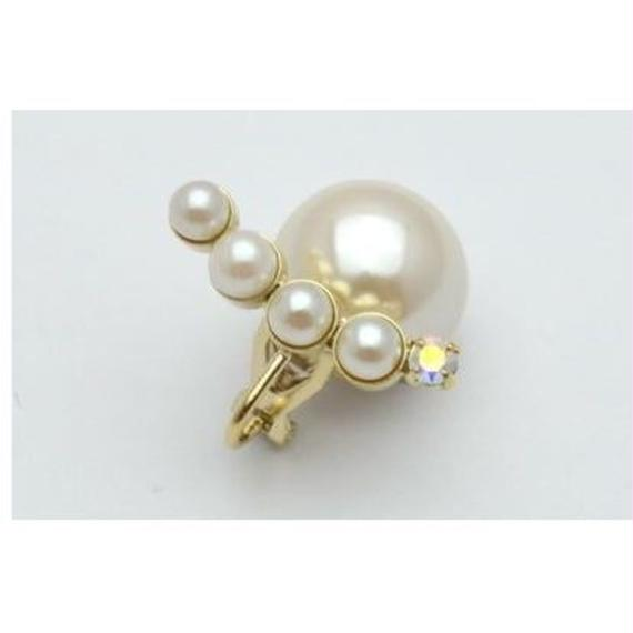 bijoux pierce(4pearls×swarovski/white)