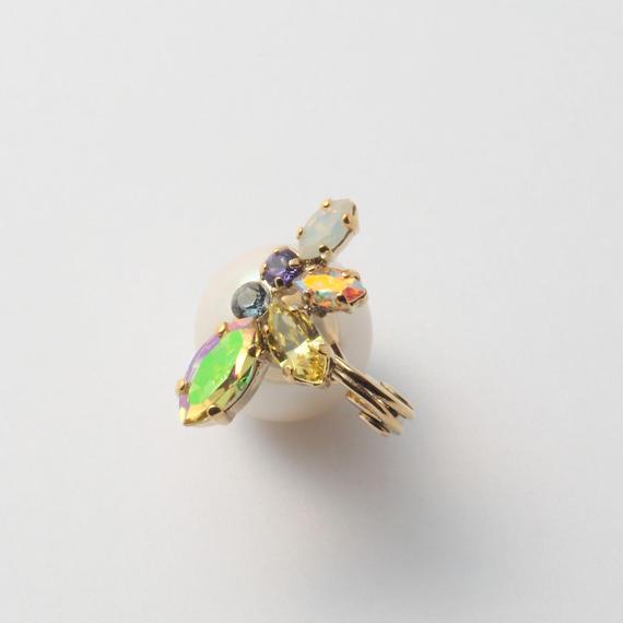 bijou 6 crystals earring (Lt Yellow,Violet Mix)