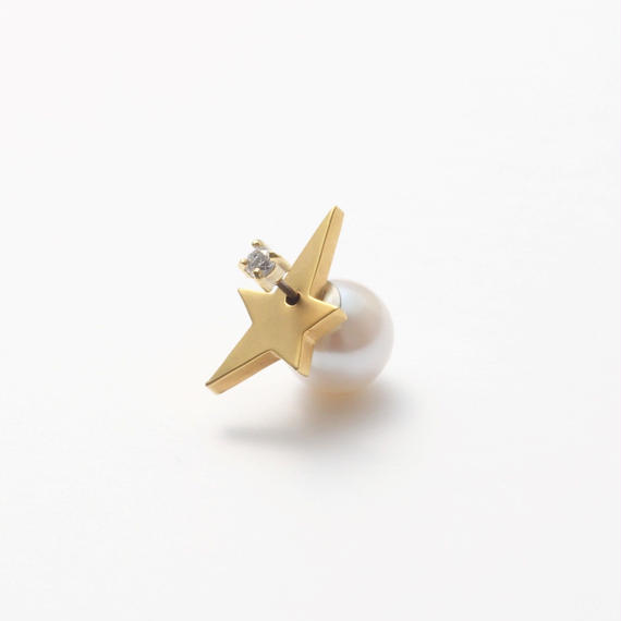 2way star pierce (front type/cubic zirconia/9mm pearl catch)