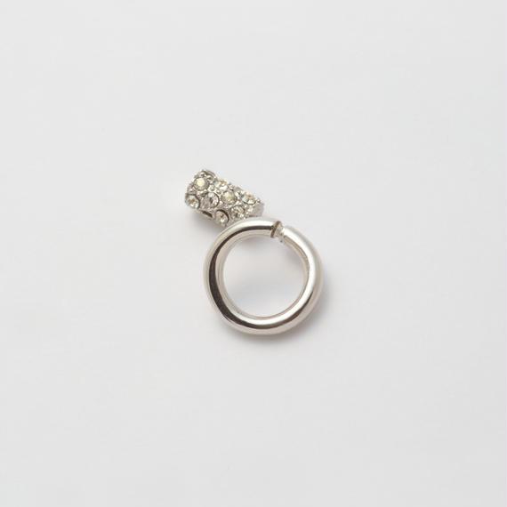 Silver line pierce(8㎜ line/Vertical type/swarovski elements/Silver catch)