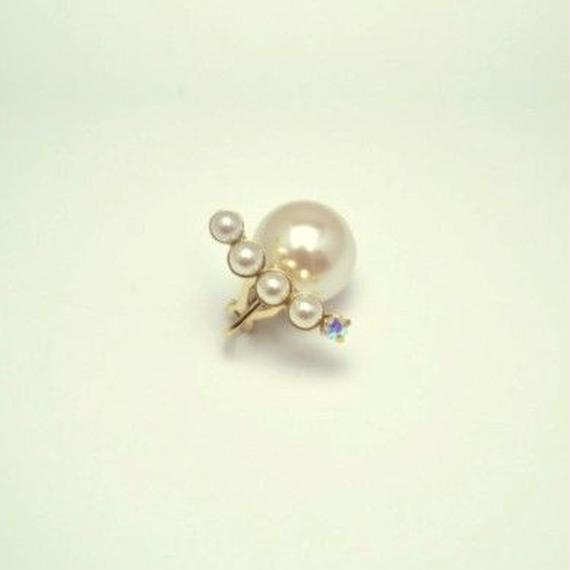 bijoux  earrings(4pearls×swarovski/white)