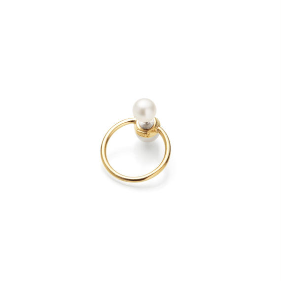 hoop catch pierce (pearl / 24mm hoop / gold)