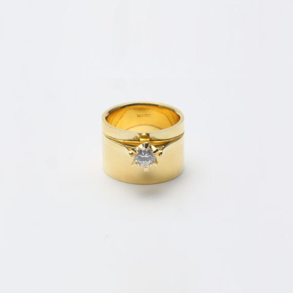 ring motif ring (cubic zirconia / gold)