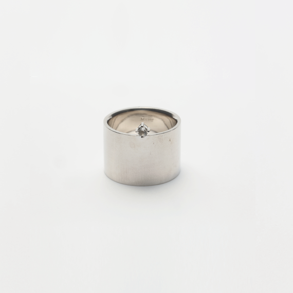 ring motif point ring (cubic zirconia / silver)