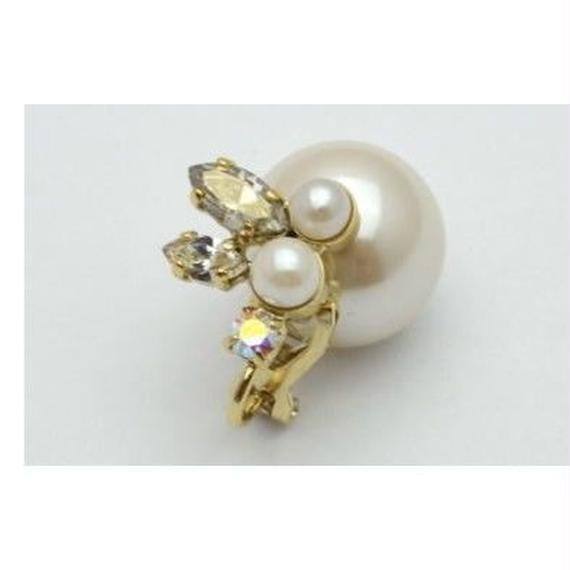 bijoux earing(pearl×swarovski/small)