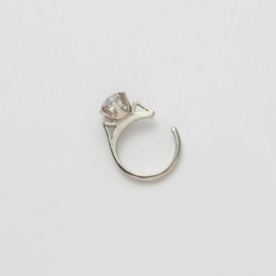 ring motif ear cuff (silver / cubic zirconia)
