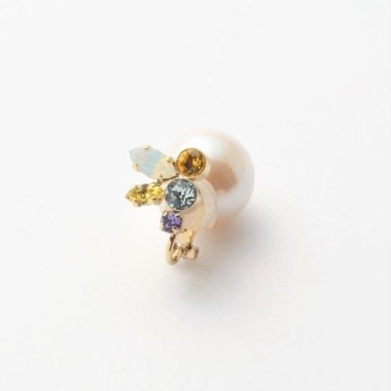 bijoux earring(pearl×swarovski/yellow/small)