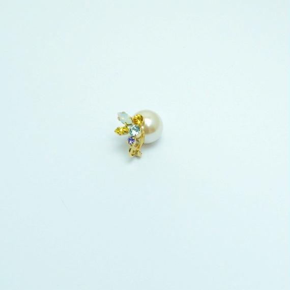 bijoux earring(pearl×swarovski/yellow/small)