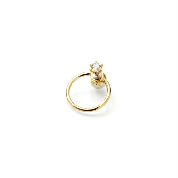 hoop catch pierce (cubic zirconia / 24mm hoop /gold)