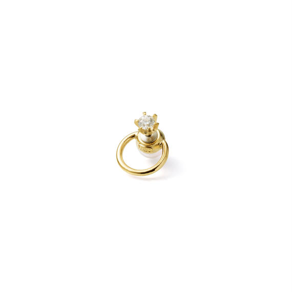 hoop catch pierce (cubic zirconia / 16mm hoop / gold)
