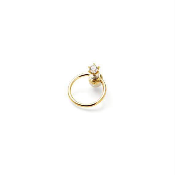 hoop catch pierce (cubic zirconia / 24mm hoop /gold)
