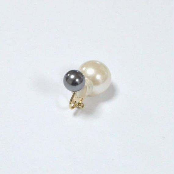 basic pearl rivets earring(dark gray)