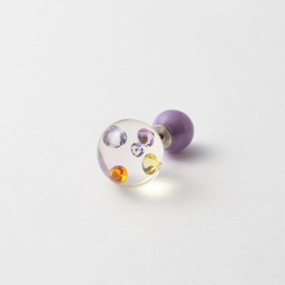 inclusion pierce (5 pieces cubic zirconias / multi violet color)