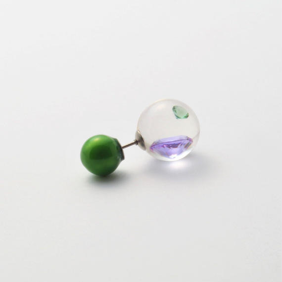 inclusion pierce green catch (cubic zirconia / purple / green)