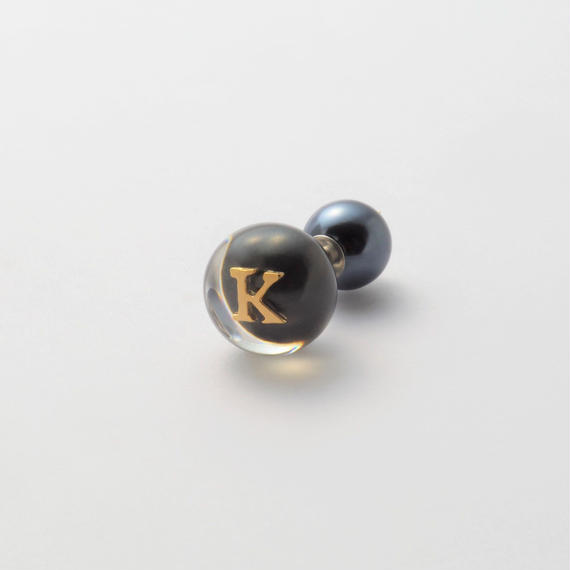 "Initial pierce black ""K"""