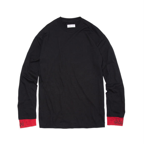 -DIRT- LAYERED LONG SLEEVE TEE (BLK×RED)