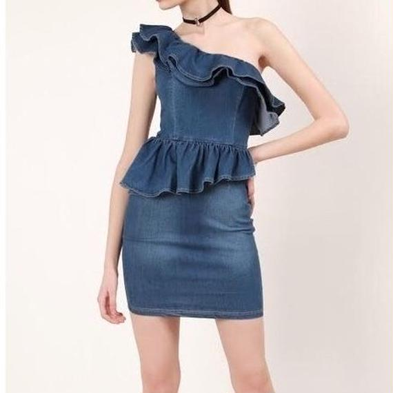 1228 One Shoulder Denim Dress