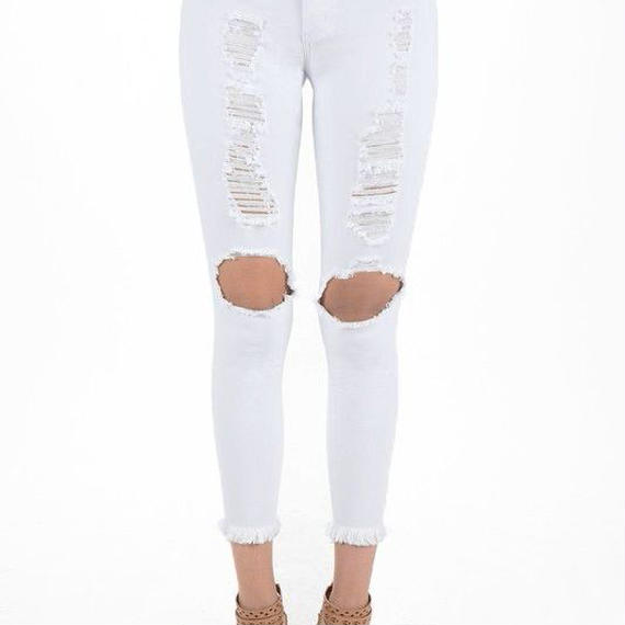 White Destroyed Pants