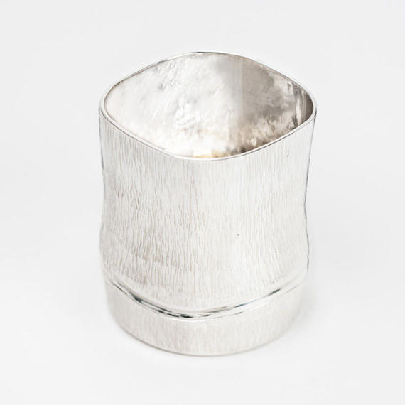 純銀製 竹型酒器 コップ Pure silver cup in the shape of bamboo tube