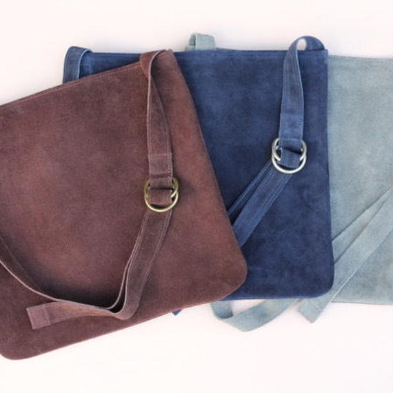 "suede musette bag ""L"" chocolate"